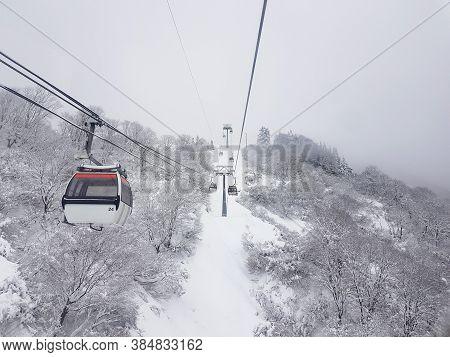 Gala Yuzawa , Japan - December 14,2018 : Cable Car Sky On Snow Mountain