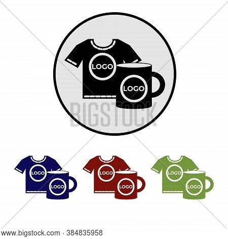 Simple Round Flat Icon Of Printing Logo On Souvenirs. Vector Pictogram Of Marketing Or Promotional P