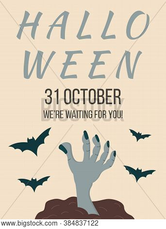 Halloween. All Saints Day Party Invitation, Poster, Template, Flyer. Holiday Creepy Leaflet Design W
