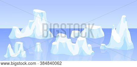 Drifting Iceberg Or Frozen Ocean Water, Crystal Icy Mountain With Snow. Ice Mountain, Large Piece Of