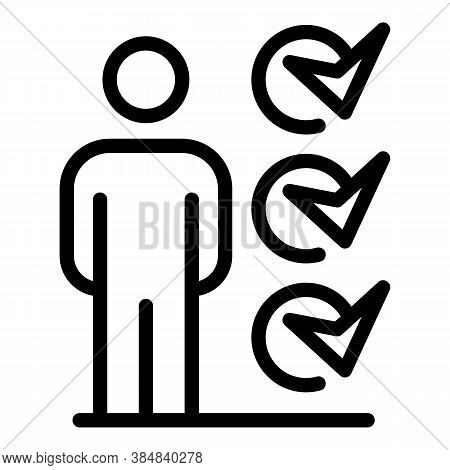 Outsource To Do List Person Icon. Outline Outsource To Do List Person Vector Icon For Web Design Iso