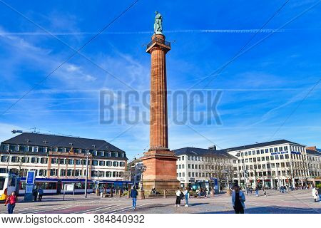Darmstadt, Germany - March 2020: Square Called 'luisenplatz' In Darmstadt Named After Grand Duchess