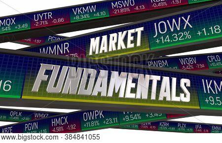 Market Fundamentals Stock Share Values Assessment Evaluation Ticker 3d Illustration
