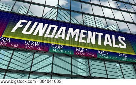 Market Fundamentals Stock Share Tickers Valuations 3d Illustration