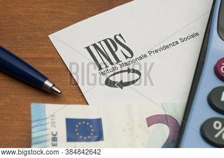 Carrara, Italy - September 11, 2020 - The Inps Logo On A Sheet Of Headed Paper. Inps Is The Institut