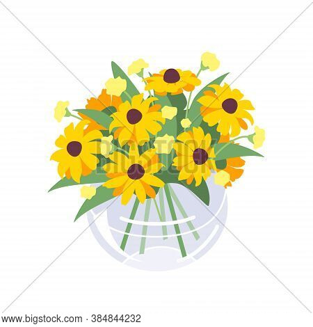 Beautiful Yellow Autumn Flowers In Glass Spherical Vase. Simple Bouquet Isolated On White Background