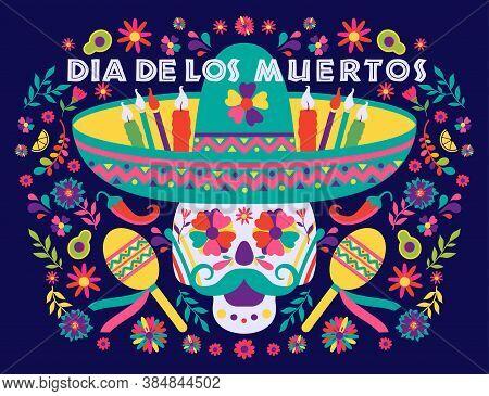 Dias De Los Muertos Trend Flat Banner Vector. In English Feast Of Death. Mexico Design For Fiesta Ca