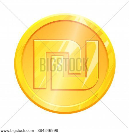 Golden Shekel Coin Ils Symbol On White Background. Finance Investment Concept. Exchange Israel Curre