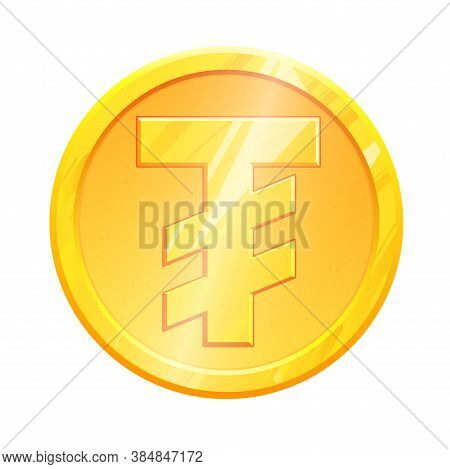 Mnt Golden Tugric Coin Symbol On White Background. Finance Investment Concept. Exchange Mongolian Cu