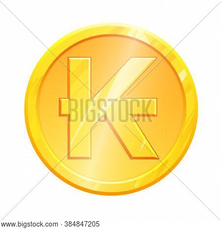 Lak Golden Lao Kip Coin Symbol On White Background. Finance Investment Concept. Exchange Laos Curren
