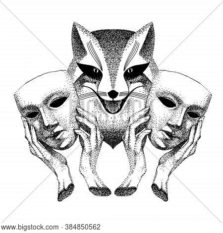 Trickster. Sly Fox Smiles. Fox With Two Masks In His Hands. Tattoo. Liar, Dodger, Mischievous, Hoaxe