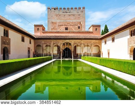 Court Of The Myrtles In Nasrid Palace,  Alhambra, Granada, Spain - June 2019