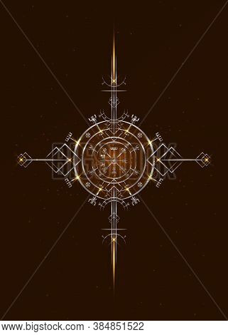 Magic Ancient Viking Art Deco, Vegvisir Magic Navigation Compass Ancient. The Vikings Cross Used Man