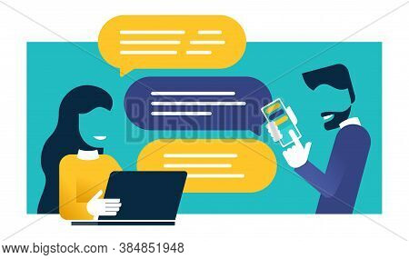 Chatting People - Chat Messages Between Woman With Laptop And Man With Smartphone Flat Cartoon Sms B