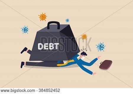 Coronavirus Economic Crash Causing Big Debt On Business And Unemployment Concept, Poor Depressed And