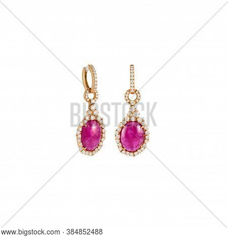 Pair Of Diamond Earrings With Pink Tourmaline In Pink Gold Isolated On White Background. Golden Earr