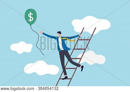 Ladder Of Success, Achieving Financial Goals Or Investor Searching For Profit And Investment Return