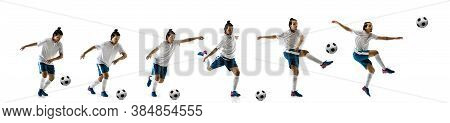 Confident Football Player In Motion And Action Isolated On White Background, Kicking Ball In Dynamic