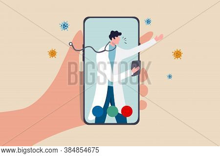 Telehealth Health Care Technology Doctor Can Diagnose And Help Patient Via Mobile Phone Or Tele Conf