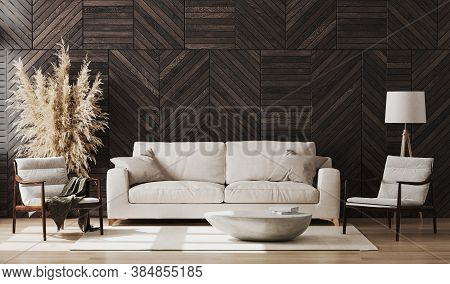 Modern Living Room Interior Mock Up With Wooden Wall Panel, Wooden Chairs And Beige Sofa, Decoration