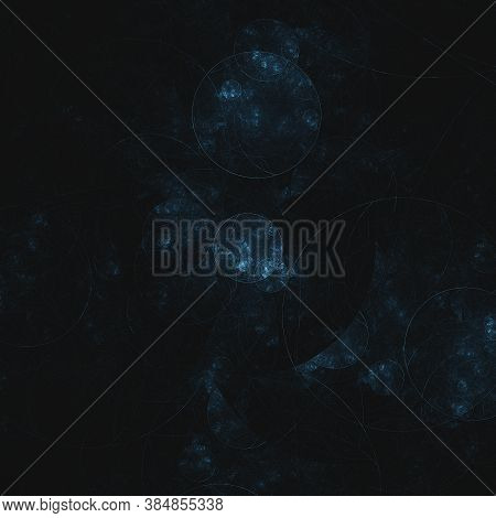 Abstract Fractal Background. Dark Blue Colour Circle Shapes Over Black