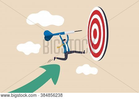 Business Target Achievement Or Success And Reaching For Target And Goal Concept, Businessman Leader