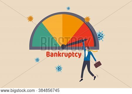 Company Business Bankruptcy Due To Coronavirus Economic Crisis, Covid-19 Pandemic Causing Debt And F