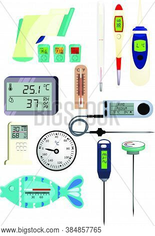 Thermometer Icon Set. Set Of Line Icons. Temperature, Air Pressure, Humidity. Illustrations Can Be U
