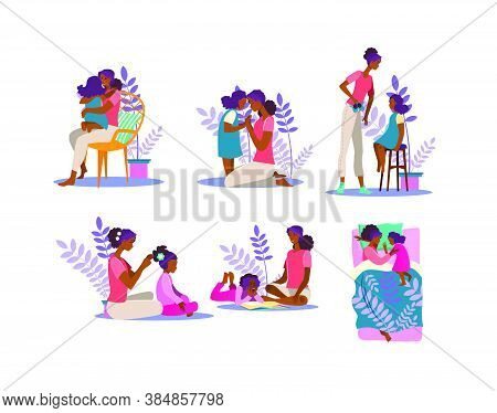 Motherhood Illustration Set. Woman And Girl Hugging, Reading Book, Spending Time Together. Family Co