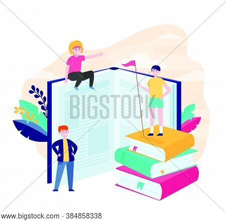 Happy Sporty Readers Among Books. Student Standing On Stack Of Books, Getting Knowledge, Studying  F