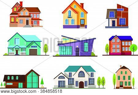Modern Cottage Houses Set. Collection For Neighborhood And Suburban. Can Be Used For Topics Like Pro
