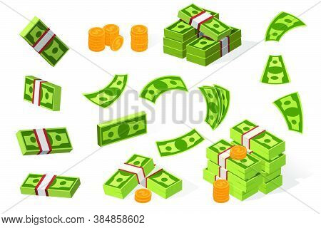 Dollars Flat Vector Illustration Set. Stacks Of Coins And Banknotes, Money, Cash, Pile. Finance, Sav