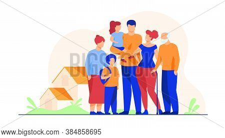 Big Family Meeting. Couple With Senior Parents And Two Kids Standing Together At Suburban House. Vec