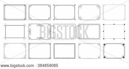 Rectangular Calligraphic Frames Set. Vintage Elegant Borders, Traditional Ornate Elements. Vector Il