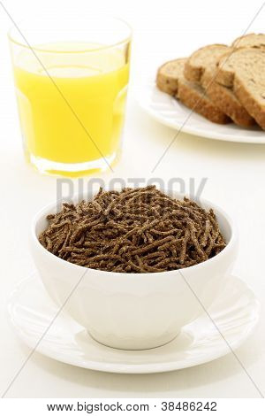 healthy breakfast  with fresh bread and wheat bran cereal