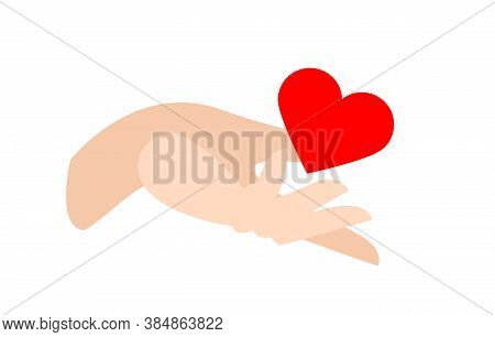Red Heart In Hand, Flat Vector Illustration Isolated On White Background. A Symbol Of Selfless Gift,