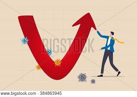 Economic V Shape Recovery After Coronavirus Covid-19 Crash Concept, Businessman Professional Analyse