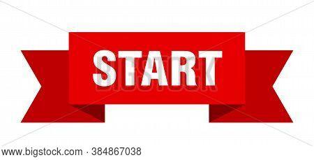 Start Ribbon. Start Paper Band Banner Sign