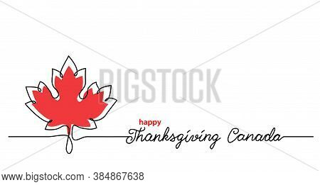 Thanksgiving Canada Art Background With Maple Leaf. Simple Vector Web Banner. One Continuous Line Dr