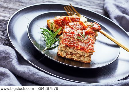 A Portion Of Vegan Lasagna With Champignon And Tomato Sauce Vegan Bolognese, Tofu Cheese, And Italia