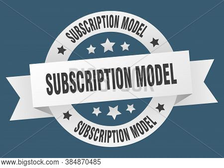 Subscription Model Round Ribbon Isolated Label. Subscription Model Sign
