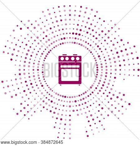 Purple Oven Icon Isolated On White Background. Stove Gas Oven Sign. Abstract Circle Random Dots. Vec