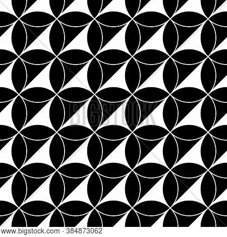 Black Figures On White Background. Texture With Oval And Triangular Shapes. Ethnic Motif. Seamless S