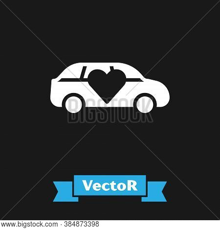 White Luxury Limousine Car Icon Isolated On Black Background. For World Premiere Celebrities And Gue