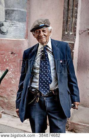 Street Portrait Of An Old Cuban Man In Old Havana, Cuba