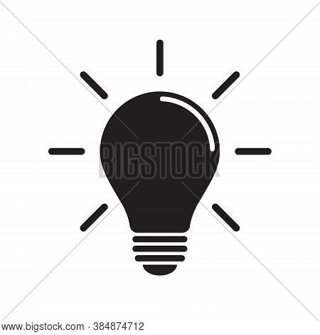 Light bulb icon. Incandescent lamp symbol. Idea and innovation sign. Creative energy or inspiration logo. Lightbulb silhouette isolated on white background. Vector illustration image.