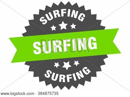 Surfing Sign. Surfing Circular Band Label. Round Sticker