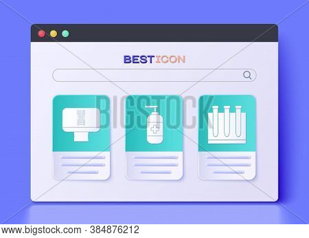 Set Bottle Of Liquid Antibacterial Soap, Dna Spiral And Computer And Blood Test And Virus Icon. Vect