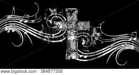 Christian Cross With Music Notes Vector Illustration. Religion Themed Background. Design For Gospel