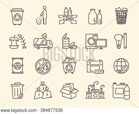 Set Of Icons For Rubbish And Waste Disposal With Recycling Bins, Broken Goods, Garbage Bin, Discarde